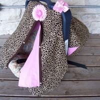 3 in 1 Car Seat Canopy, Nursing Cover, and Blanket with FREE Daisy Flower Clip--Cheetah and Baby Pink--Girl Car Seat Canopy--Carseat Canopy