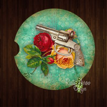 Pistol and Roses Sandstone Car Coaster