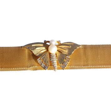 Signed Hattie Carnegie Gold Mesh Butterfly Necklace