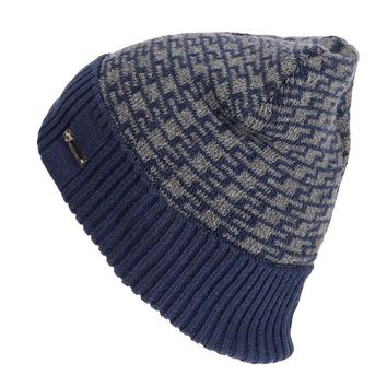 Men Winter Plus Velvet Geometric Pattern Knitted Hat Outdoor Warm Windproof Skullies Beanie Hat