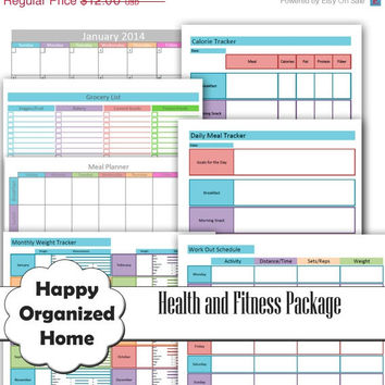 25% OFF SALE Health and Fitness Printables Set - Organizing Printables - INSTANT Download - Calorie Tracker -Exercise Tracker -Weight Loss T