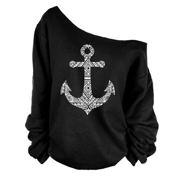 spring autumn winter new t shirts women elegant long sleeve boat anchor printed basic T shirt oblique shoulder tops