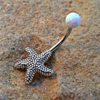 Fire Opal Starfish Belly Ring Non Dangle 14ga Surgical Stainless Steel White Opal