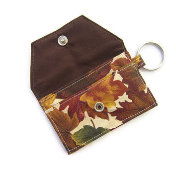 Mini key chain wallet/ simple ID Key chain / Business card holder/ keychain coin purse /coffee solid color and autumn leaf