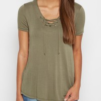 Olive Lace-Up Tee | Shirts | rue21