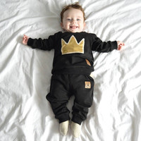 2016 Autumn new baby boy clothes cotton fashion crown long-sleeved T-shirt + Long pants newborn boys girl clothes set SY151