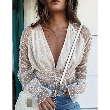 exy Women Blouses See Through Transparent Mesh Deep V Neck Long Sleeve Sheer