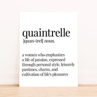 Printable Art Quaintrelle Wanderlust Definition Typography Poster Home Decor Bedroom Decor