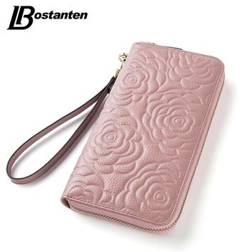 BOSTANTEN Floral Wallet Women Long Lady Clutch Wallet Large Genuine Leather Female Card Holder Wallets Coin Phone Purse Wristlet