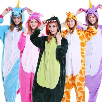 Autumn And Winter Hot Flannel Unisex Adult Pajamas Lounge Wear Kigurumi Costume Animal Onesi Sleepwear Suit Home Clothing