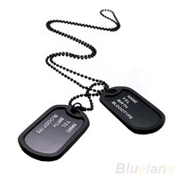 Military Army Style Black 2 Dog Tags Chain Mens Pendant Necklace ( can't write words on tag) = 1645831748