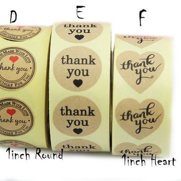 Thank You Sticker Roll Thank You Sticker Seal Gift Sticker Gold Paper Adhesive Label 1inch Round/Heart, Sold by 500pcs