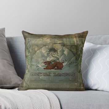 'The dragons with vintage background' Throw Pillow by nicky2342
