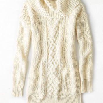 AEO Women's Cowl Neck Jegging Sweater (Cream)