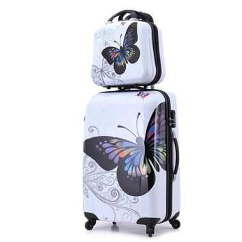 """24""""+12"""" amazing hot sales Japan butterfly ABS trolley suitcase luggage sets/Pull Rod trunk/traveller case box with spinner wheel"""