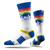 Strideline Rainbow Block Throwback Denver Nuggets City Blue Crew socks NEW