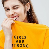 Monki Girls Are Strong Oversized Tee at asos.com