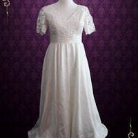 Vintage Style Plus Size Ivory Lace Wedding Dress with Sleeves and Side Pockets   Brenda