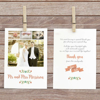 wedding guest thank you, photo thank you card, wedding thank you notes, wedding photo postcard, wedding thank you postcard,  thank you