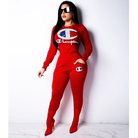 Champion Hot Sale Women Casual Sequins Long Sleeve Top Pants Set Two-Piece Sportswear Red