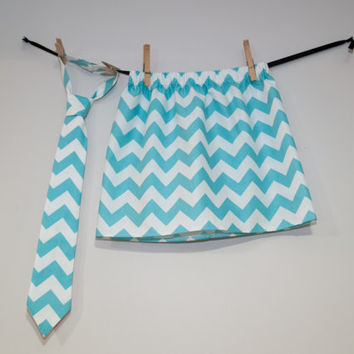 Aqua Chevron Brother Sister Matching Skirt and Necktie, Aqua Chevron Necktie, Chevron Skirt, Brother Sister Outfit, Easter Kids Clothes