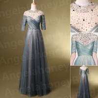 2015 Vintage Retro Style Long A-line Prom Dresses Beaded Bling High Collar Evening Gowns Wedding Party Pagneat Party Dresses Formal Gowns