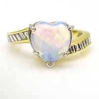 Heart Opal Ring in 14k Yellow Gold with Diamonds Size 6
