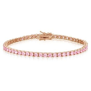 Pink Lab Diamond One Row 14k Rose Gold Finish Tennis Bracelet 48761126b6