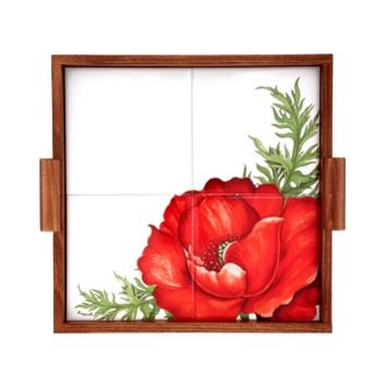 Spigarelli Designer Kitchen & Dining Poppy Wood and Ceramic Tile Tray