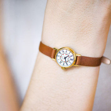 Vintage tiny watch for women red flowers on face, micro watch gold plated, petite lady watch Seagull, small watch, genuine leather strap new