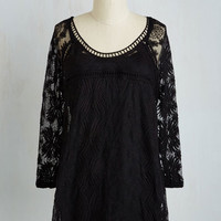 Long Cottage Couture Tunic in Black