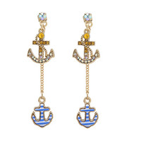Betsey Johnson Anchor FRN Back Earring Blue Antique Gold - Zappos.com Free Shipping BOTH Ways