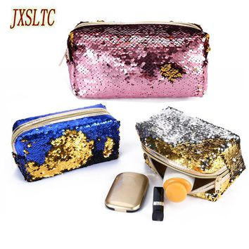 Sequins Glitter Women Makeup Cases Travel Organizer Cosmetic Bags Zipper Mermaid Party Clutch Purse Small cosmetic bag Pouch