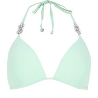 River Island Womens Green jewel strap molded bikini top