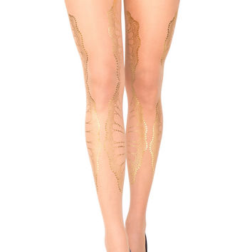 Hand Printed EXCLUSSIVE  Tights -La Boheme, Gold on sheer Skin color,Flash Back collection