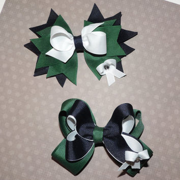Set of 2: Back to School Uniform Spiked Hair Bow and Twisted Boutique Hair Bow - Navy, Hunter Green, and White