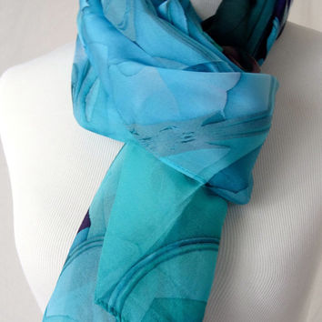 "Silk Chiffon Long  Scarf - ""Oceanic Blue"" 3D Fractal design, Summer Scarf, Gifts for Women"