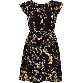 Black floral print frill sleeve dress - skater dresses - dresses - women