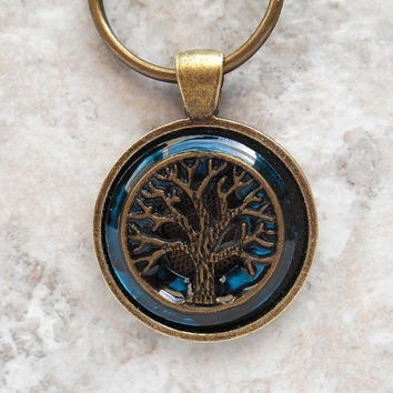 tree of life keychain: blue - mens keyring - mens keychain - tree keychain - celtic keychain - unique gift - nature keychain - valentine