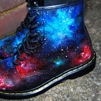 Hand painted Union Jack Inspired Galaxy Space Cosmic Print Dr Martens ALL SIZES.