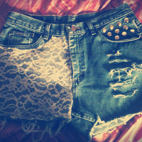 Beautiful Elegant Lacey Studded distressed High Waisted Shorts