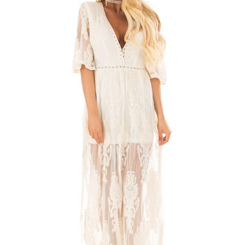 Cream Embroidered Mesh Maxi Dress with Plunging V Neckline