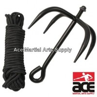 Black Ninja Folding Grappling Hook W/ 33 Foot Rope:Amazon:Sports & Outdoors