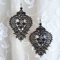Camellia black lace earrings by StitchFromTheHeart on Etsy