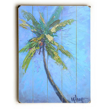 Lone Palm by Artist Carol Schiff Wood Sign