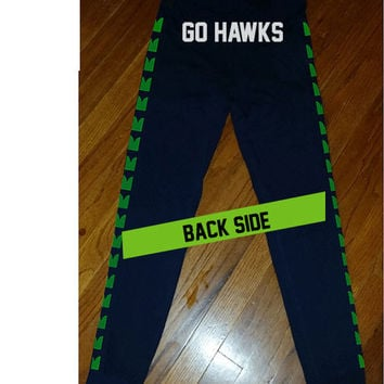 Custom Seattle Seahawks EyeHawk 12th Women's GO HAWKS Leggings Legging yoga stretchy pants cheerleading jersey pants tshirt sweatshirt