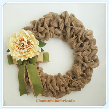 Elegant Burlap Wreath, Shabby Chic Wreath, Winter Wreath, Ivory & Tan Wreath, Spring Wreath, Front Door Wreath, Silk Flower Wreath