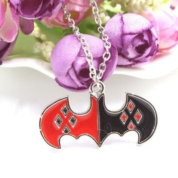 ICIKHY9 Free Delivery Superhero Batman Harley Quinn Bat Symbol Pendant Silver Plated Necklace Fashion Gift Movie Jewelry