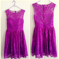 Violet/purple Lace Overlay sweetheart satin lining Knee length Lace Dress/Party Dress/Prom Dress/Birthday Dress