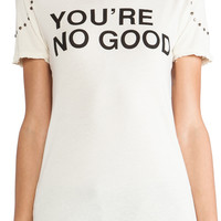 Pam & Gela You're No Good Distressed Logo Tee in Studded Cream   REVOLVE